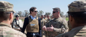 Jared Kushner, senior advisor and son-in-law to U.S. President Donald Trump, meets with service members at a forward operating base near Qayyarah West in Iraq, April 4, 2017. DoD/Navy Petty Officer 2nd Class Dominique A. Pineiro/Handout via REUTERS