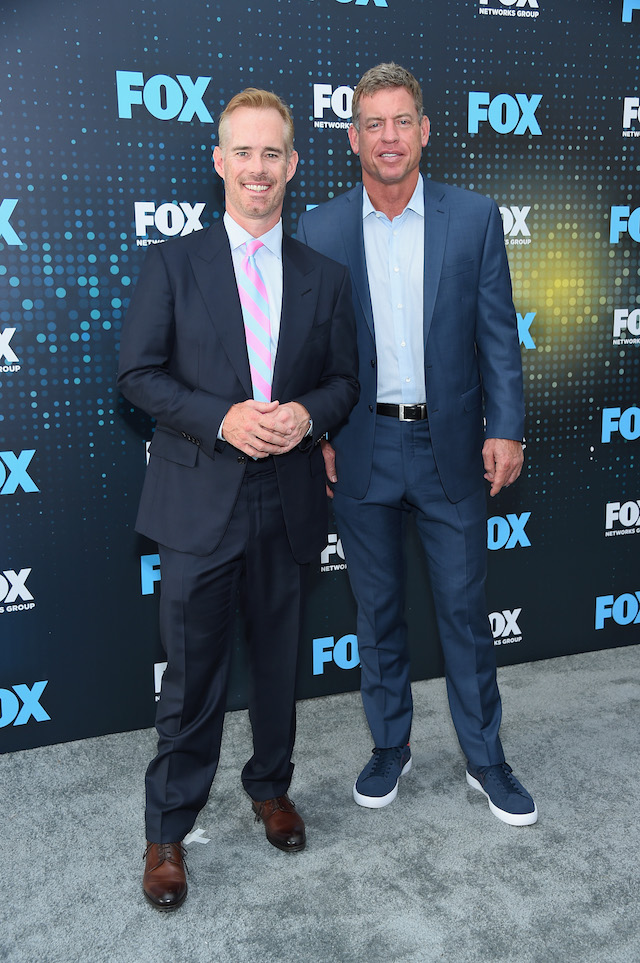 NEW YORK, NY - MAY 15: Joe Buck and Troy Aikman attend the 2017 FOX Upfront at Wollman Rink, Central Park on May 15, 2017 in New York City. (Photo by Michael Loccisano/Getty Images)