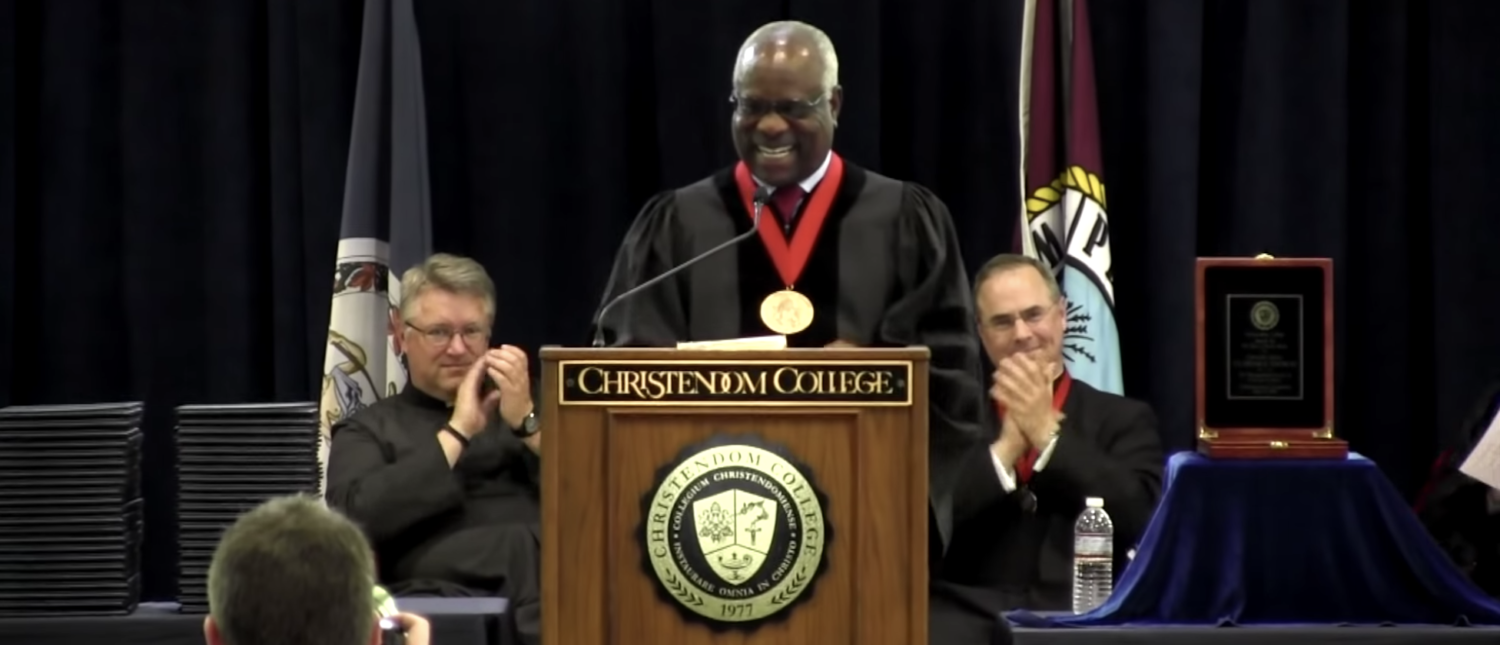 Justice Clarence Thomas delivering the commencement address at Christendom College in May 2018. (YouTube screenshot/ChristendomTube).