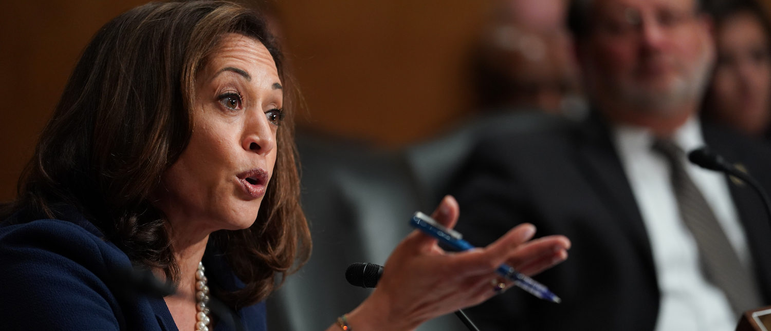 """U.S. Senator Kamala Harris (D-CA) questions Department of Homeland Security Secretary Kirstjen Nielsen during a Senate Homeland Security and Governmental Affairs Committee hearing on """"Authorities and Resources Needed to Protect and Secure the United States,""""  on Capitol Hill in Washington, DC, May 15, 2018. REUTERS/Erin Schaff"""