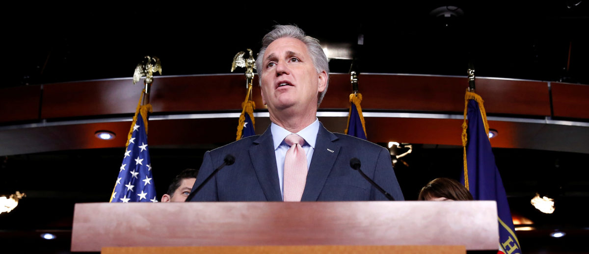 House Majority Leader Kevin McCarthy (R-CA) speaks during a media briefing after the House Republican conference on Capitol Hill in Washington, U.S., April 17, 2018. REUTERS/Joshua Roberts | McCarthy Claims GOP Will Keep The House