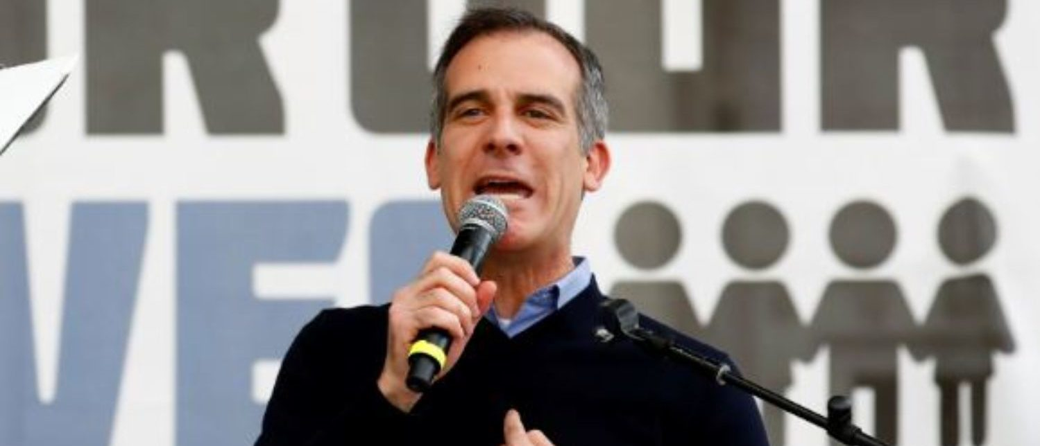 "Los Angeles mayor Eric Garcetti speaks during ""March for Our Lives"", an organized demonstration to end gun violence, in downtown Los Angeles, California, U.S., March 24, 2018. REUTERS/Patrick T. Fallon"