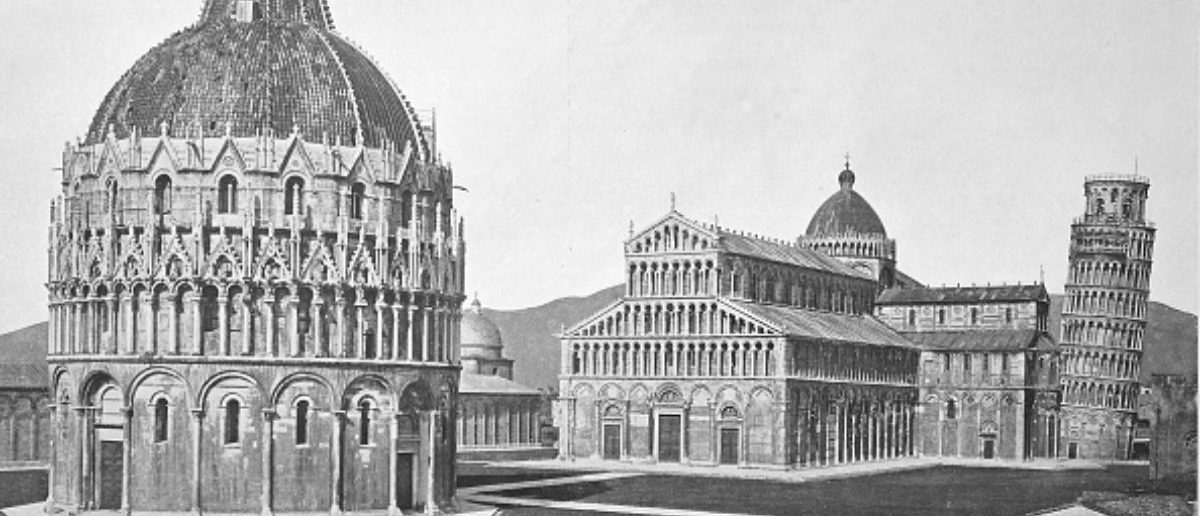 Historical photo of Pisa, View of the Piazza dei Miracoli, leaning Tower of Pisa and Baptistry, Tuscany, Italy, Digital improved reproduction from an original print from 1890. (Photo by: Bildagentur-online/UIG via Getty Images)