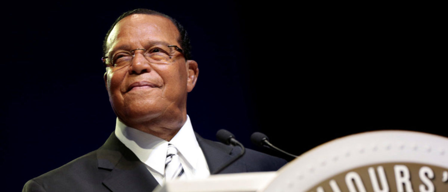 Religious leader Louis Farrakhan gives the keynote speech at the Nation of Islam annual national convention in Detroit, Michigan, U.S. February 19, 2017. REUTERS/Rebecca Cook