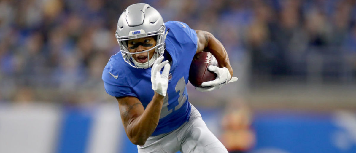 DETROIT, MI - NOVEMBER 23: Marvin Jones #11 of the Detroit Lions runs with ball after catching a pass against the Minnesota Vikings during the first half at Ford Field on November 23, 2017 in Detroit, Michigan. (Photo by Gregory Shamus/Getty Images)