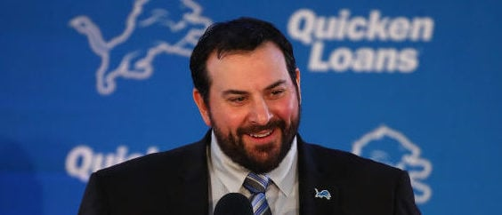 ALLEN PARK, MI - FEBRUARY 07: Matt Patricia speaks at a press conference after being hired as the head coach of the Detroit Lions at the Detroit Lions Practice Facility on February 7, 2018 in Allen Park, Michigan. (Photo by Gregory Shamus/Getty Images)