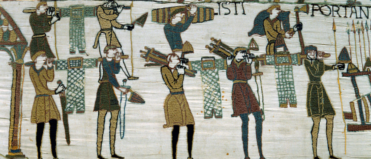 The Bayeux Tapestry, Weapons are being brought to the Ships, Bayeux, musee de la Tapisserie. (Photo by: Christophel Fine Art/UIG via Getty Images)