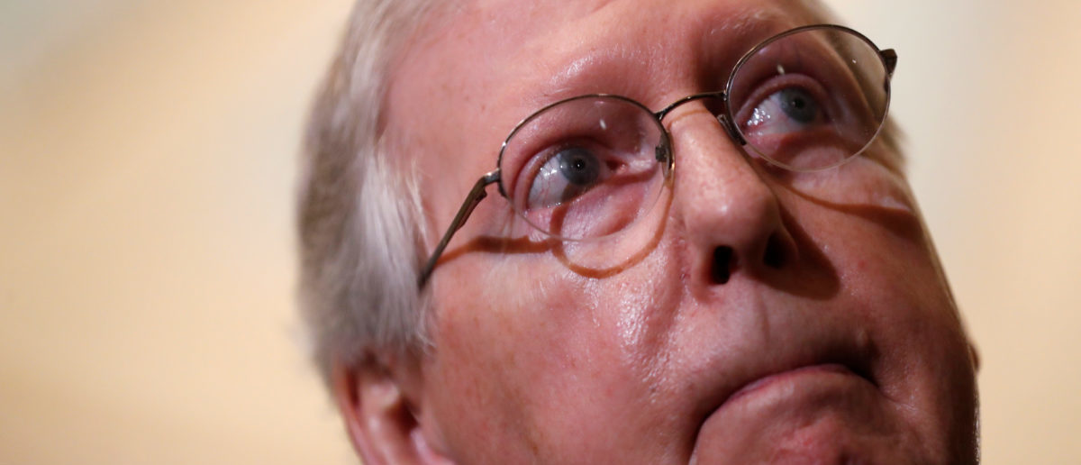 U.S. Senate Majority Leader Mitch McConnell (R-KY) speaks to Capitol Hill reporters following the Senate Republicans policy luncheon in Washington, U.S., May 15, 2018. REUTERS/Leah Millis