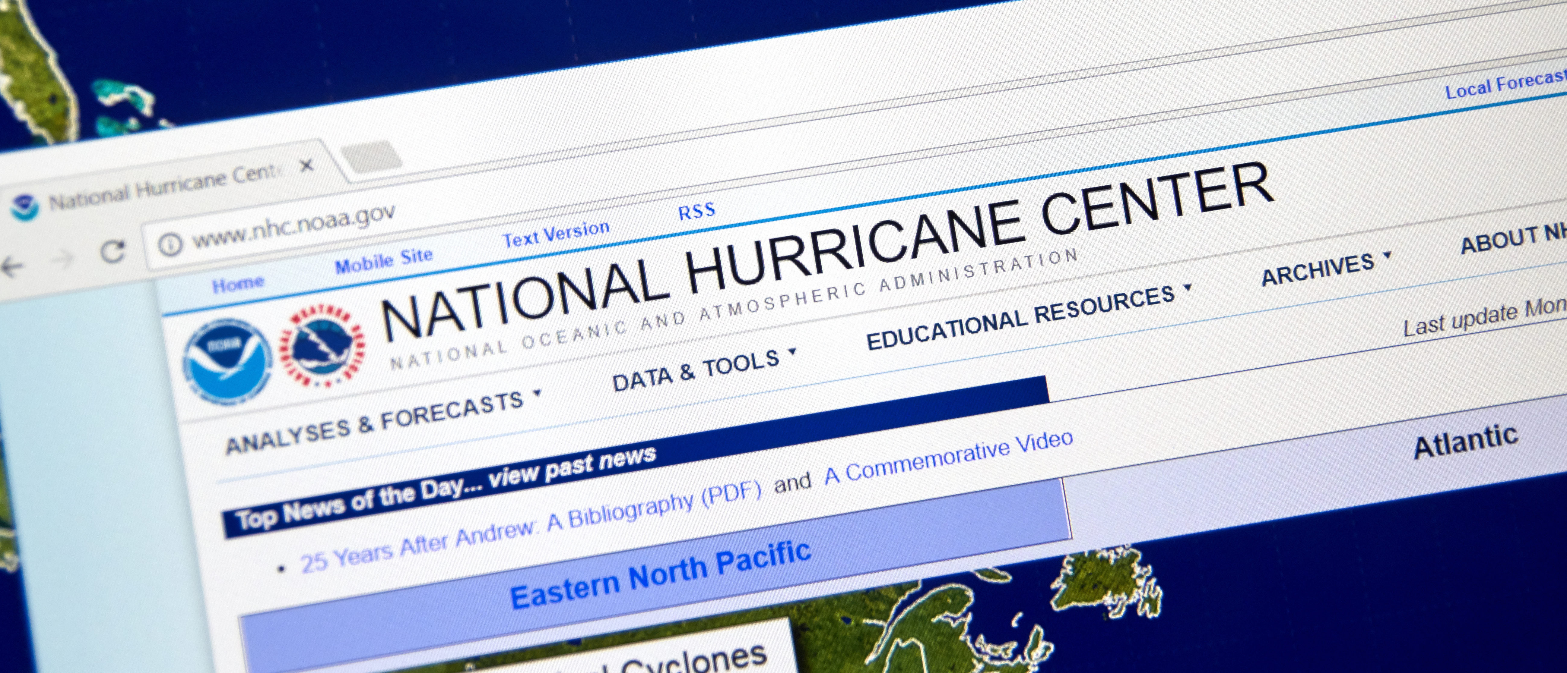 Web page of National Hurricane Center. The National Hurricane Center is co-located with the National Weather Service Miami-South Florida Weather Forecast Office. (Source: dennizn/Shutterstock)