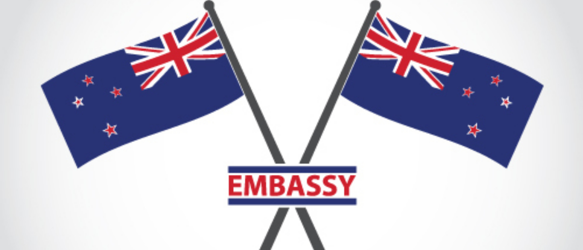 A high-ranking New Zealand officer is accused of putting a camera in the New Zealand Embassy bathroom in Washington, D.C., according to a New Zealand court Friday. (Photo: New Zealand Emblem Embassy Shutterstock/ Gazlast)