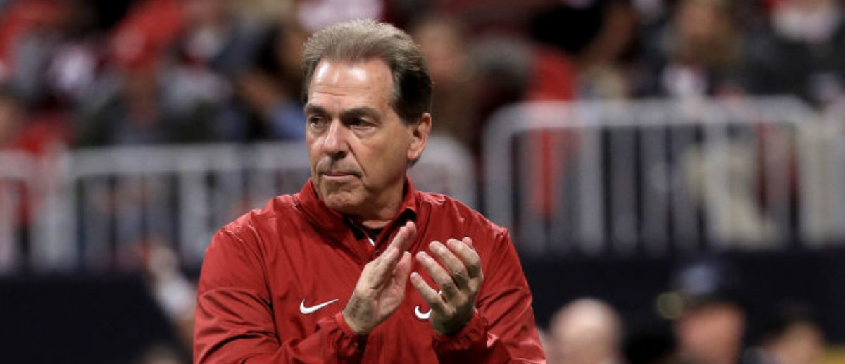 ATLANTA, GA - JANUARY 08: Head coach Nick Saban of the Alabama Crimson Tide walks on the field during warm ups prior to the game against the Georgia Bulldogs in the CFP National Championship presented by AT&T at Mercedes-Benz Stadium on January 8, 2018 in Atlanta, Georgia. (Photo by Mike Ehrmann/Getty Images)
