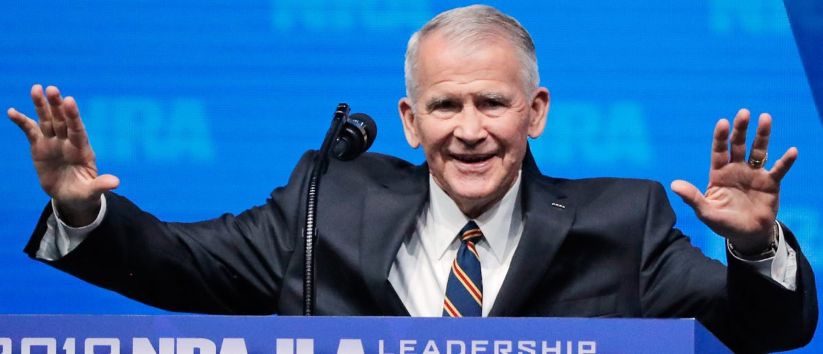 US Marine Corps Lt. Col. (Ret.) Oliver North speaks at an NRA convention in Dallas, Texas, U.S. May 4, 2018. REUTERS/Lucas Jackson - HP1EE541D65M3