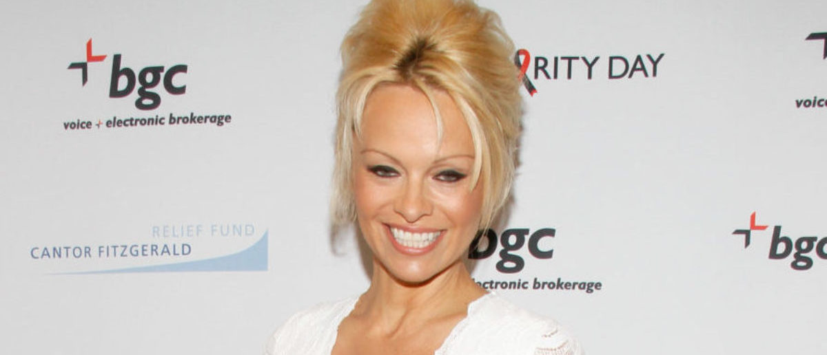 Actress Pamela Anderson attends Annual Charity Day Hosted By Cantor Fitzgerald And BGC at BGC Partners, INC on September 11, 2014 in New York City. (Photo by Janette Pellegrini/Getty Images for Cantor Fitzgerald)