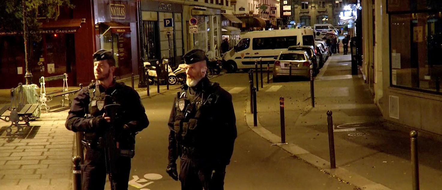 Police guard the scene of a knife attack in Paris, France May 12, 2018 in this still image obtained from a video. REUTERS/Reuters TV