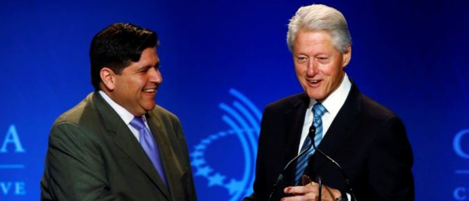 Former U.S. President Bill Clinton (R) greets J.B. Pritzker, managing partner of The Pritzker Group, at the Clinton Global Initiative America meeting in Chicago, Illinois, June 13, 2013. REUTERS/Jim Young | Clinton Financiers Past Could Hurt Him
