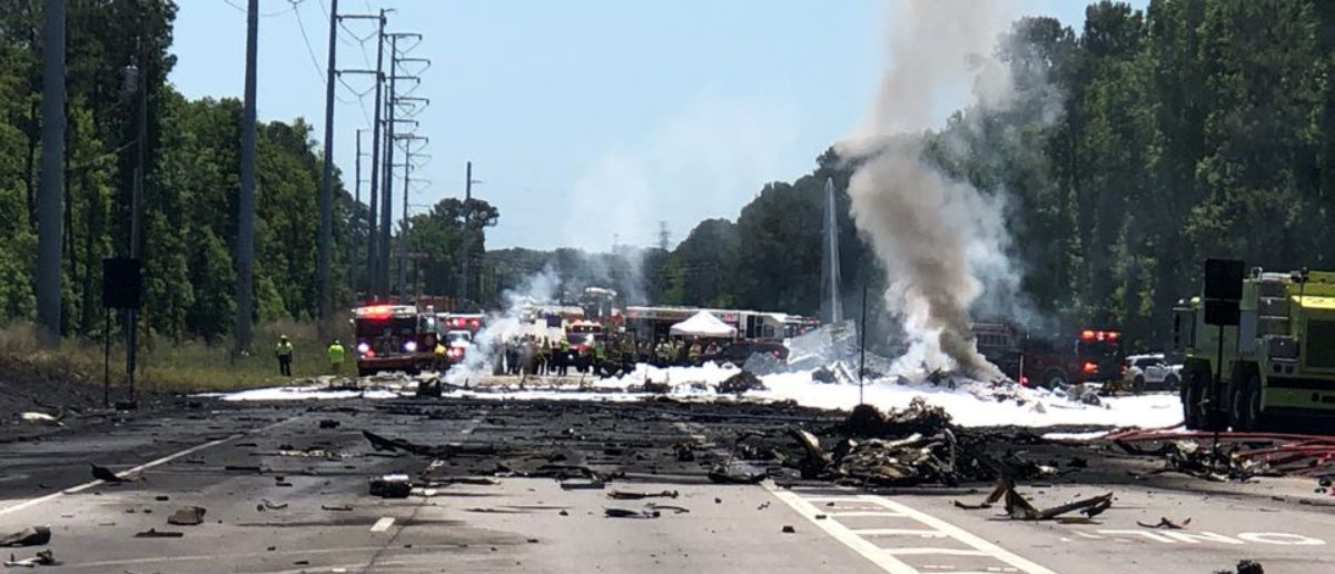 The military plane crash site is seen in Savannah, Georgia, U.S., May 2, 2018 in this picture obtained from social media. TWITTER/@IAFF574/via REUTERS