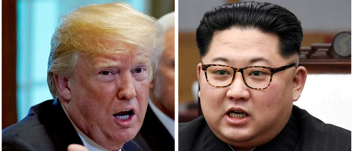 FILE PHOTO: A combination photo shows U.S. President Donald Trump and North Korean leader Kim Jong Un (R) in Washignton, DC, U.S. May 17, 2018 and in Panmunjom, South Korea, April 27, 2018 respectively. REUTERS/Kevin Lamarque and Korea Summit Press Pool/File Photos | North Korea At Fault For Cancelled Summit