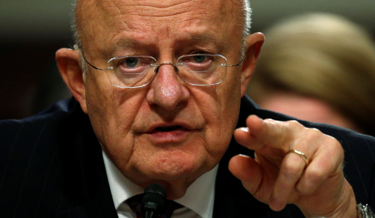 Director of National Intelligence James Clapper testifies before a Senate Armed Services Committee hearing on foreign cyber threats, on Capitol Hill in Washington, U.S., January 5, 2017. REUTERS/Kevin Lamarque TPX IMAGES OF THE DAY - RC1604691580