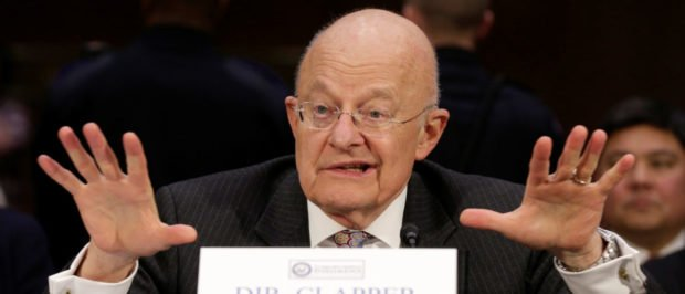 "Director of National Intelligence (DNI) James Clapper testifies to the Senate Select Committee on Intelligence hearing on ""Russia's intelligence activities"" on Capitol Hill in Washington, U.S. January 10, 2017. REUTERS/Joshua Roberts 