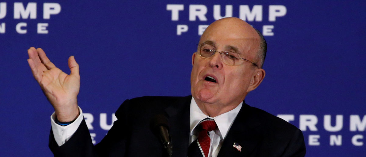 FILE PHOTO: Former New York mayor Rudy Giuliani introduces Republican U.S. presidential nominee Donald Trump at a campaign event in Gettysburg, Pennsylvania, U.S., October 22, 2016. REUTERS/Jonathan Ernst/File Photo | Giuliani Talks Comey, Stormy Daniels