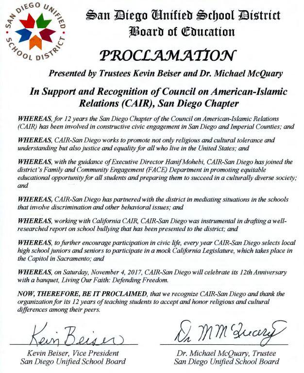 San Diego School Board Proclamation CAIR (CREDIT: Screenshot/FCDF)