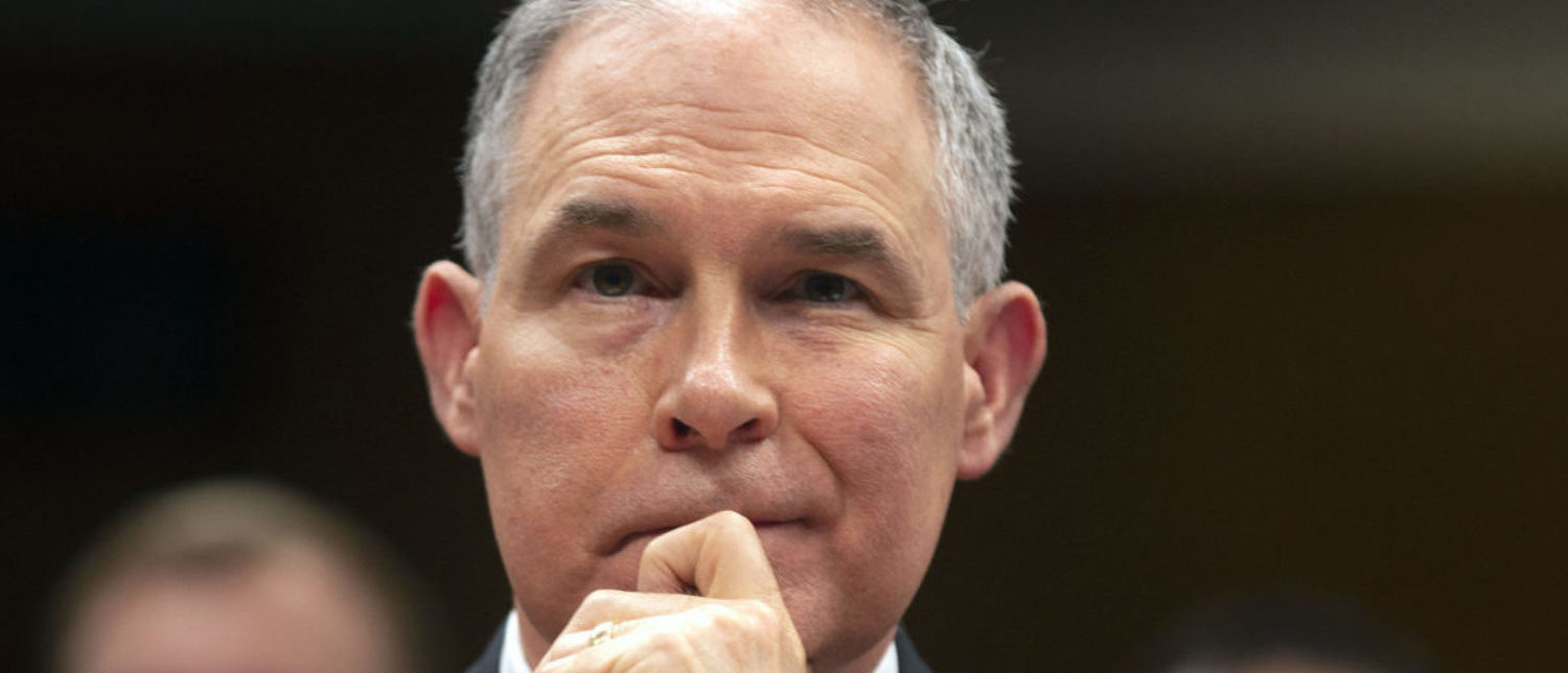 EPA Administrator Scott Pruitt testifies before a Senate Appropriations Interior, Environment, and Related Agencies Subcommittee hearing on the proposed budget estimates and justification for FY2019 for the Environmental Protection Agency on Capitol Hill in Washington, U.S., May 16, 2018. REUTERS/Al Drago - HP1EE5G15QD3I
