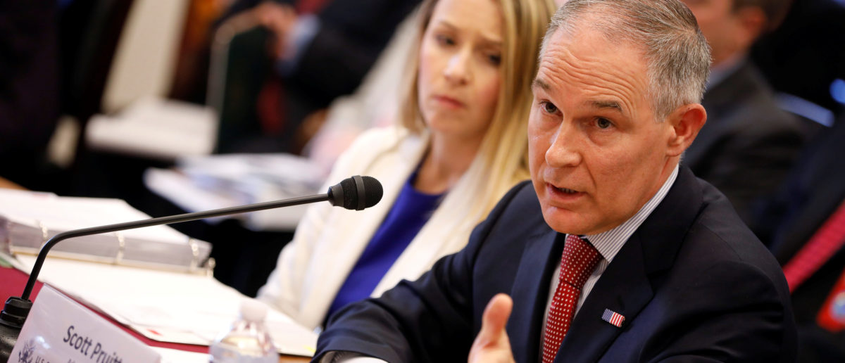 EPA Administrator Scott Pruitt testifies before the House Appropriations Committee Subcommittee on Interior, Environment, and Related Agencies Subcommittee on Capitol Hill in Washington, U.S., April 26, 2018. REUTERS/Aaron P. Bernstein | Emails Shed Light On Pruitt's Security