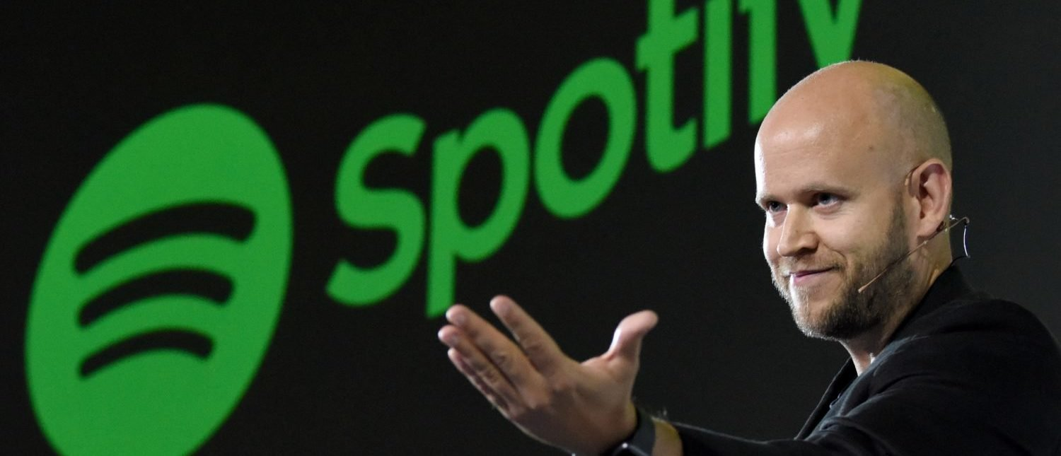 Daniel Ek, CEO of Swedish music streaming service Spotify, gestures as he makes a speech at a press conference in Tokyo on September 29, 2016. Spotify kicked off its services in Japan on September 29. (Photo: TORU YAMANAKA/AFP/Getty Images)
