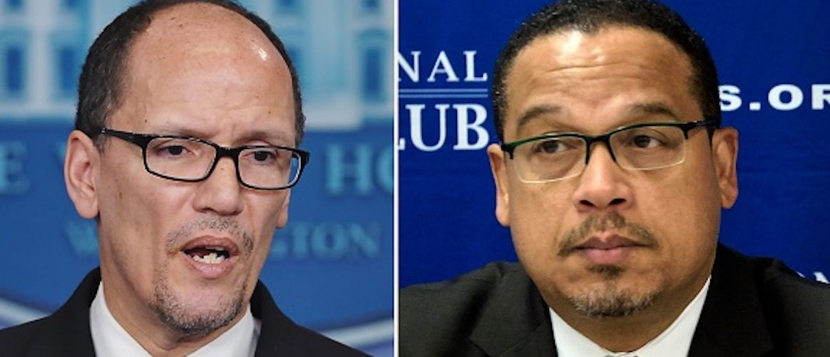 (FILES): These two file photos show then Labor Secretary Thomas Perez (L) speaking to reporters about the minimum wage for federal contractors at the White House in Washington, DC, on Feburary 12, 2014; and Minnesota Democratic Congressman Keith Ellison (R) during a press conference about Islamophobia at the National Press Club on May 24, 2016 in Washington, DC. US Democrats, licking their wounds from last year's election debacle, will pick a new leader on February 25, 2017 to take the fight to President Donald Trump and his Republicans. The race to chair the Democratic National Committee (DNC) features front-runners Tom Perez, a Hispanic-American and former secretary of labor under Barack Obama who is the establishment pick, and Keith Ellison, a black Muslim congressman from the party's progressive wing who has left open the prospect of pushing to impeach Trump. / AFP / Mandel NGAN AND Brendan SMIALOWSKI (Photo credit should read MANDEL NGAN,BRENDAN SMIALOWSKI/AFP/Getty Images)   Tom Perez Ripped Endorsing Cuomo Primary
