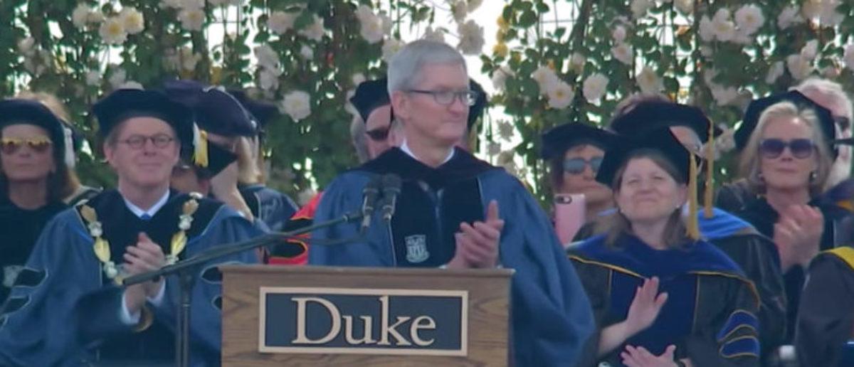Tim Cook giving his commencement speech at Duke University May 13, 2018. (Photo: YouTube screenshot, Duke University)