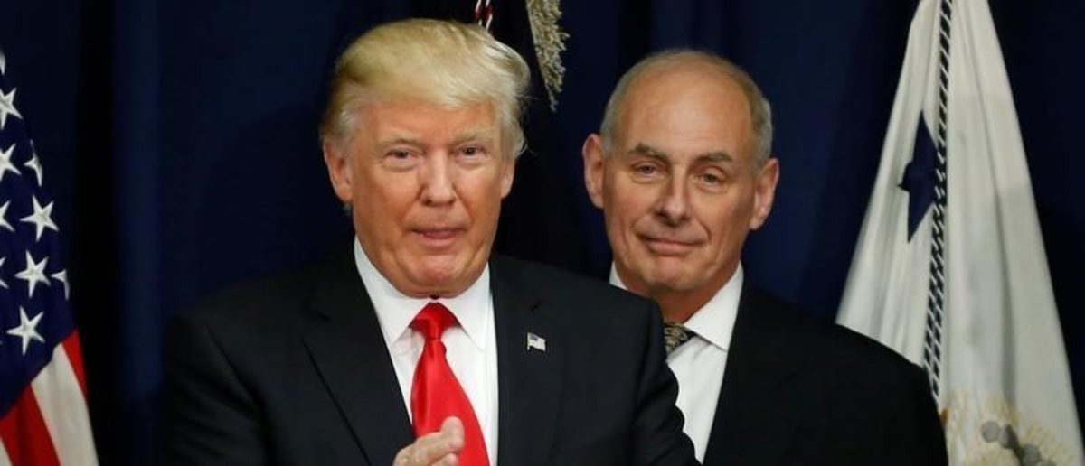 U.S. President Donald Trump applauds after a ceremonial swearing-in for U.S. Homeland Security Secretary John Kelly at Homeland Security headquarters in Washington, U.S., January 25, 2017.  REUTERS/Jonathan Ernst | John Kelly Comments On Russia Probe