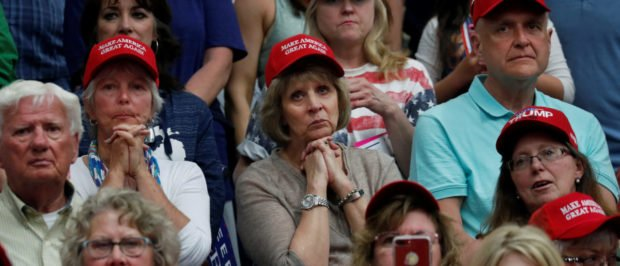 Supporters listen with rapt attention to U.S. President Donald Trump during a rally at North Side middle school in Elkhart, Indiana, U.S., May 10, 2018. REUTERS/Leah Millis | Liberal Writers Quit White Trump Voters