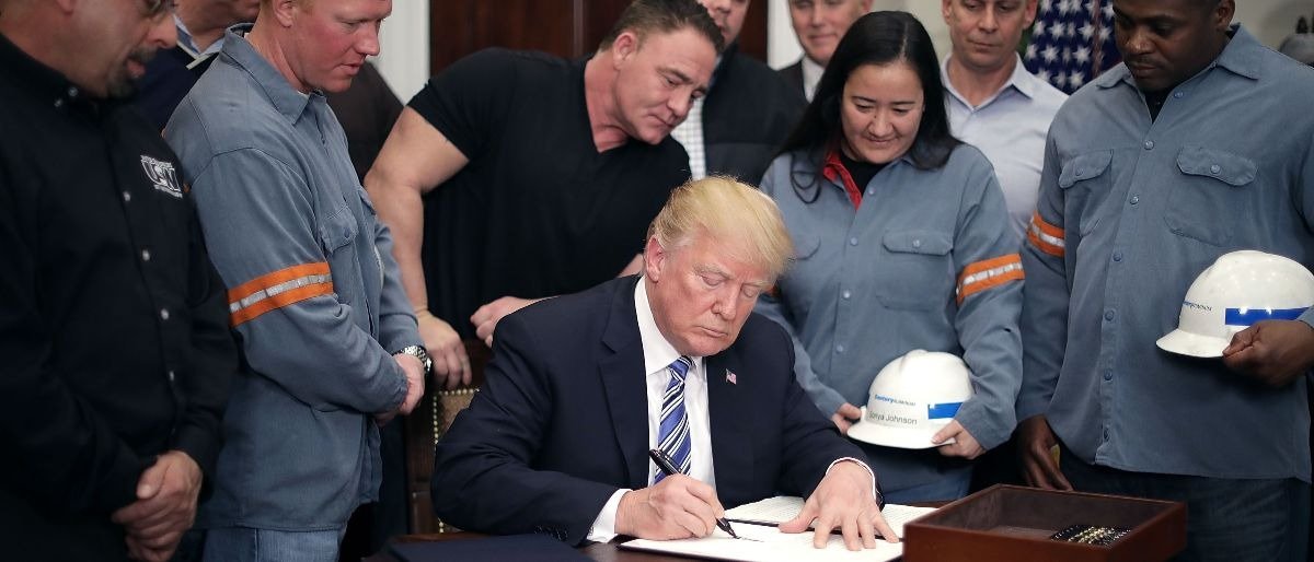 Trump and steelworkers Getty Images/Chip Somodevilla