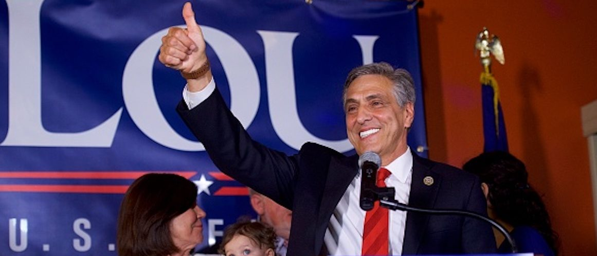 HAZLETON, PA - MAY 15: U.S. Congressman Lou Barletta (R - Pa.) waves to supporters after his victory in the 2018 Pennsylvania Primary Election for U.S. Senator on May 15, 2018 in Hazleton, Pennsylvania. In the second major May primary day nationwide, four states go to the polls: Idaho, Nebraska, Oregon, and Pennsylvania. (Photo by Mark Makela/Getty Images)