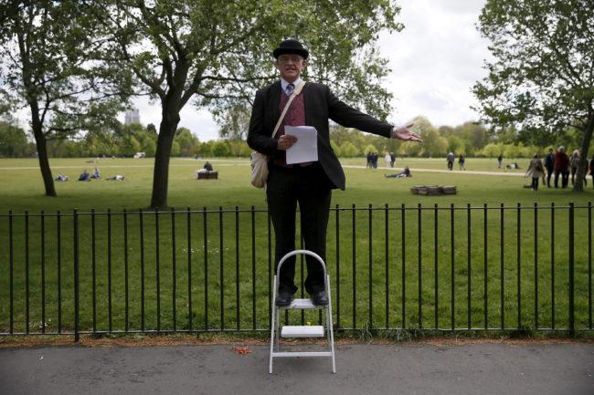 Matthew, 60, a speaker on Christianity, gestures on a stepladder at Speakers' Corner in Hyde Park, London, Britain May 3, 2015. REUTERS/Stefan Wermuth