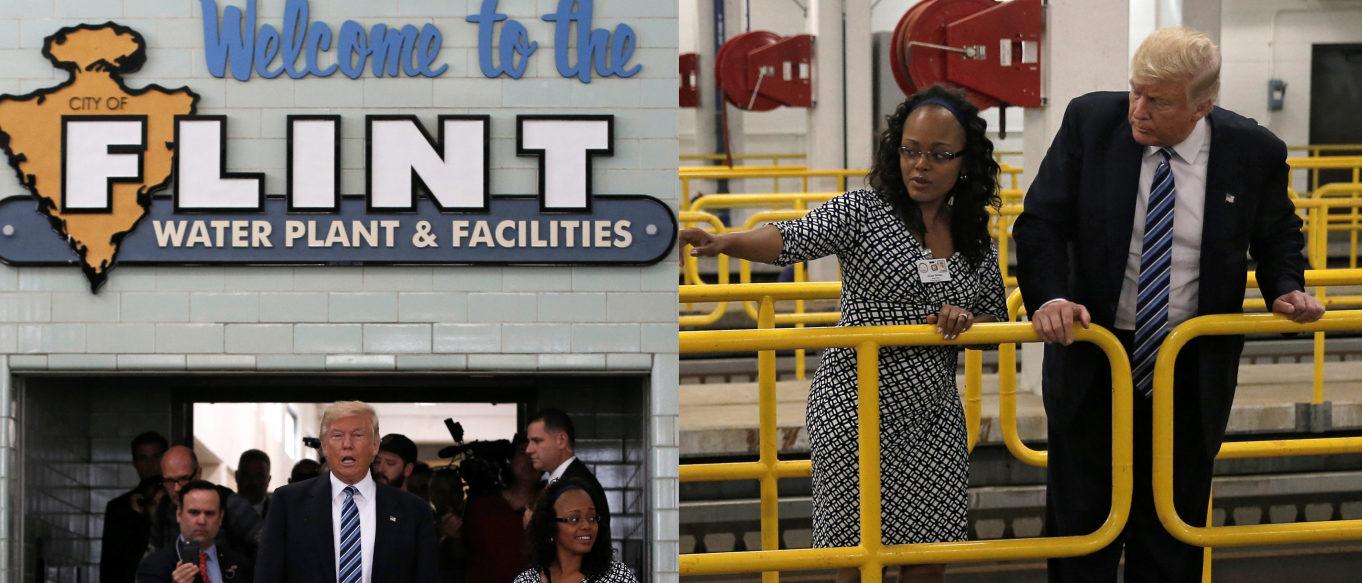 Trump visiting Flint, Mich., water plant, REUTERS/Mike Segar