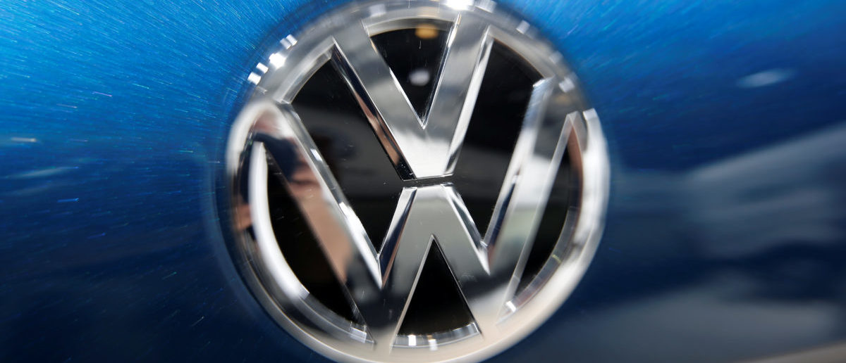 A Volkswagen logo is pictured during the Volkswagen Group's annual general meeting in Berlin, Germany, May 3, 2018. REUTERS/Axel Schmidt | Volkswagen Top Executive Indicted
