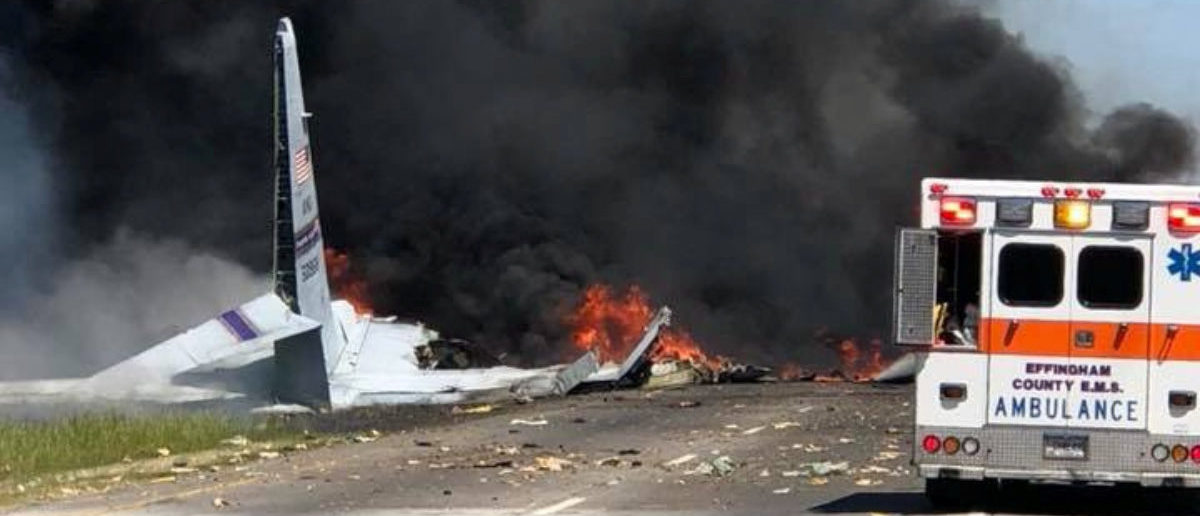 The military plane crash site is seen in Savannah, Georgia, U.S., May 2, 2018 in this picture obtained from social media. JAMES LAVINE/via REUTERS
