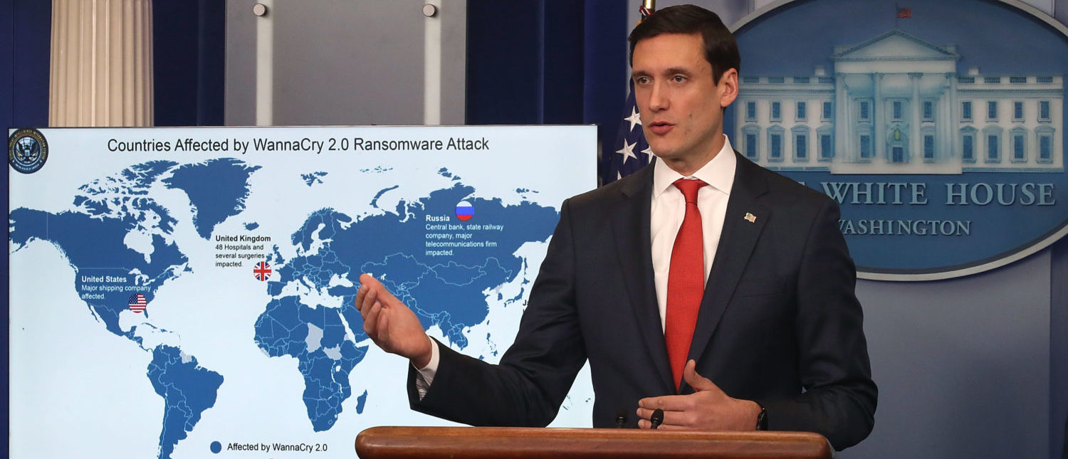WASHINGTON, DC - DECEMBER 19: Tom Bossert, White House homeland security adviser, briefs reporters about the WannaCry cyberattack earlier this year, at the White House on December 19, 2017 in Washington, DC. The widespread attack, which plagued multiple industries in at least 150 countries and cost billions of dollars, was blamed squarely on North Korea by Bossert. (Photo by Mark Wilson/Getty Images)