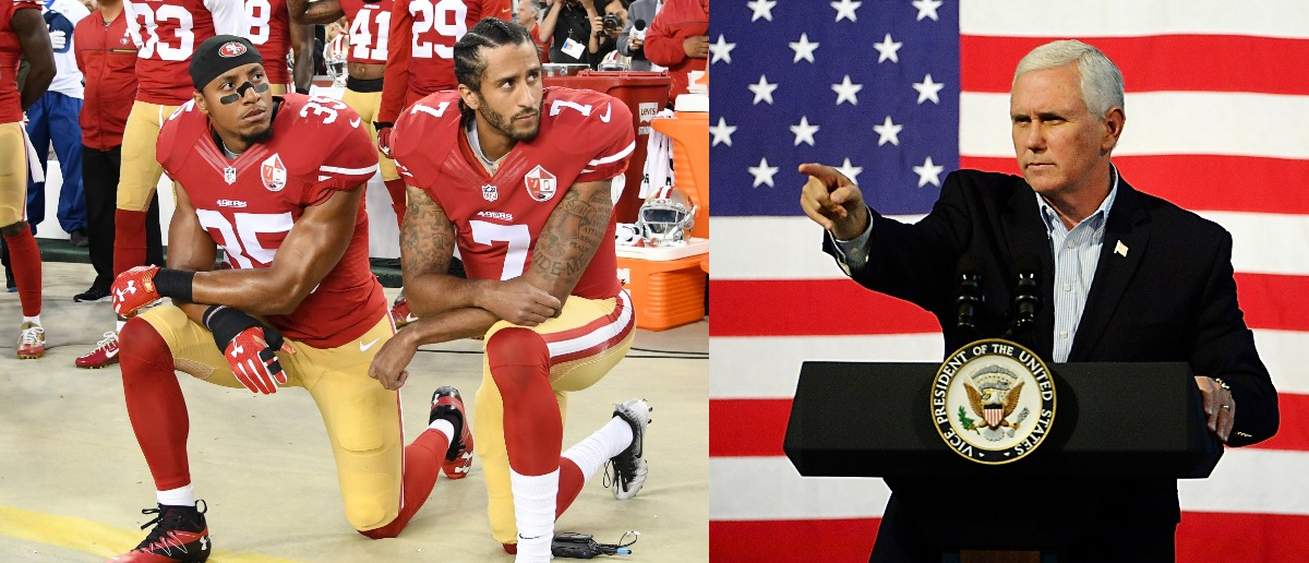 Colin Kaepernick #7 and Eric Reid #35 of the San Francisco 49ers kneel in protest during the national anthem prior to playing the Los Angeles Rams in their NFL game at Levi's Stadium on September 12, 2016 in Santa Clara, California. (Photo by Thearon W. Henderson/Getty ImagesU.S. Vice President Mike Pence speaks during a campaign rally for gubernatorial candidate Ed Gillespie, R-VA, at the Washington County Fairgrounds on October 14, 2017 in Abingdon, Virginia. Virginia voters head to the polls on Nov. 7. (Photo by Sara D. Davis/Getty Images)