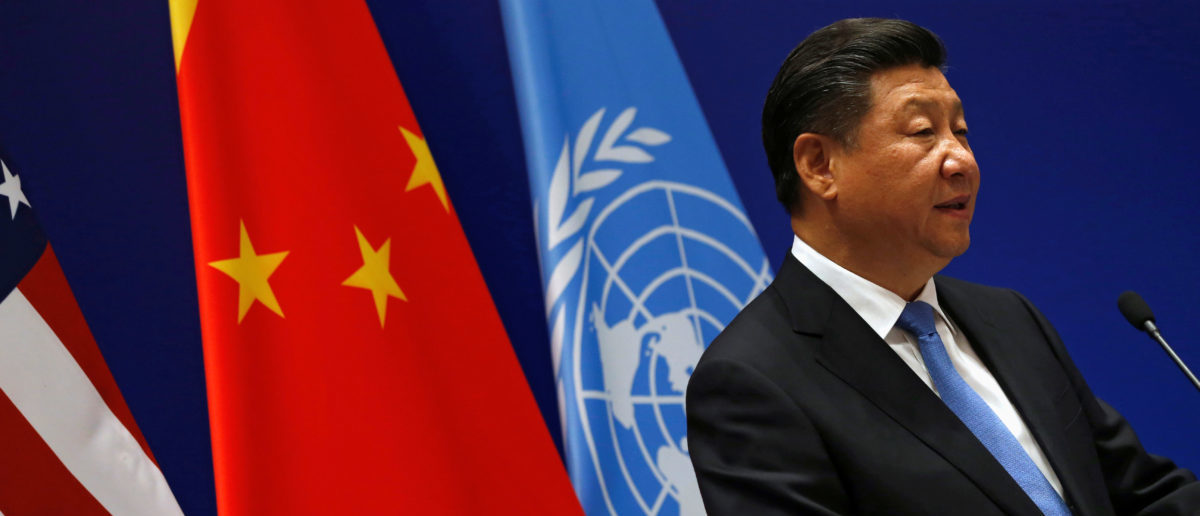 China's President Xi Jinping delivers remarks at a Paris Agreements climate event with United Nations Secretary General Ban Ki Moon and U.S. President Barack Obama ahead of the G20 Summit, at West Lake State Guest House in Hangzhou