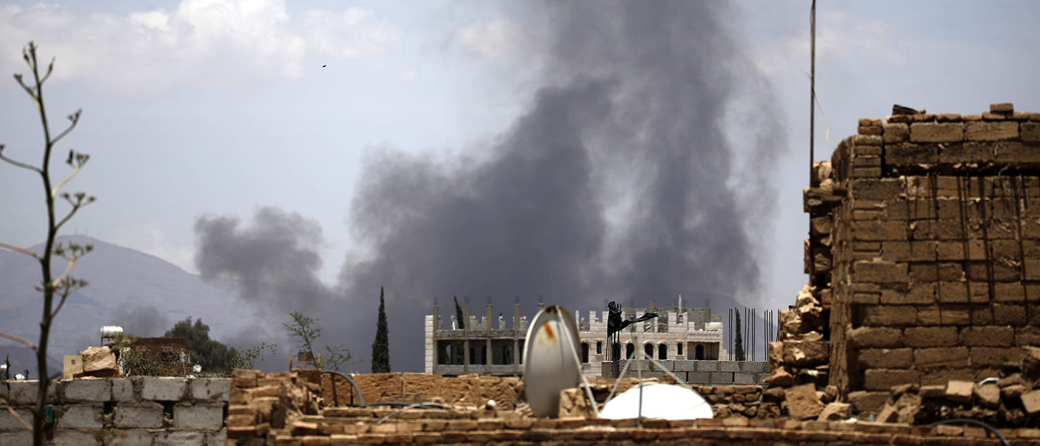 Smoke billows following an air-strike by the Saudi-led coalition targeting the Al-Dailami air base, in the capital Sanaa on April 5, 2018. MOHAMMED HUWAIS/AFP/Getty Images