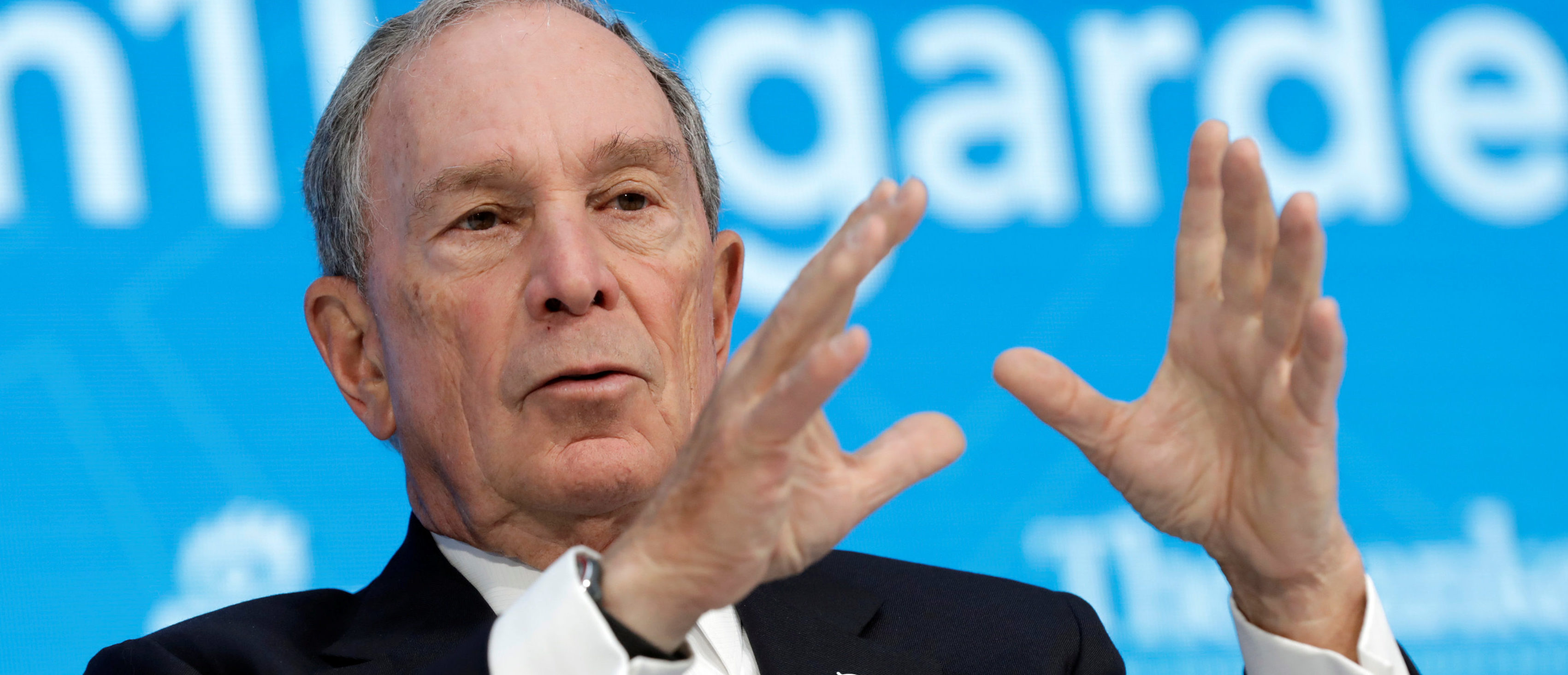 Special envoy to the United Nations for climate change Michael Bloomberg speaks during the One-on-One discussion panel with International Monetary Fund (IMF) Managing Director Christine Lagarde on side of the IMF/World Bank spring meeting in Washington, U.S., April 19, 2018. REUTERS/Yuri Gripas - RC1C9C67D8C0