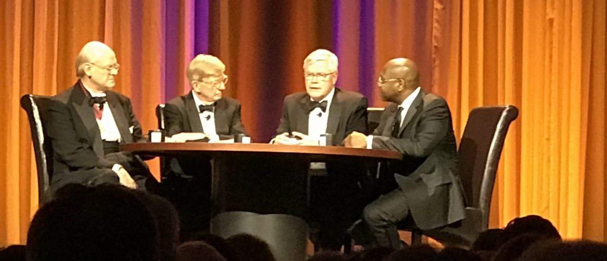 Award winners speak with George Will at teh 15th Annual Lynde and Harry Bradley Foundation dinner. (Photo: TheDCNF)