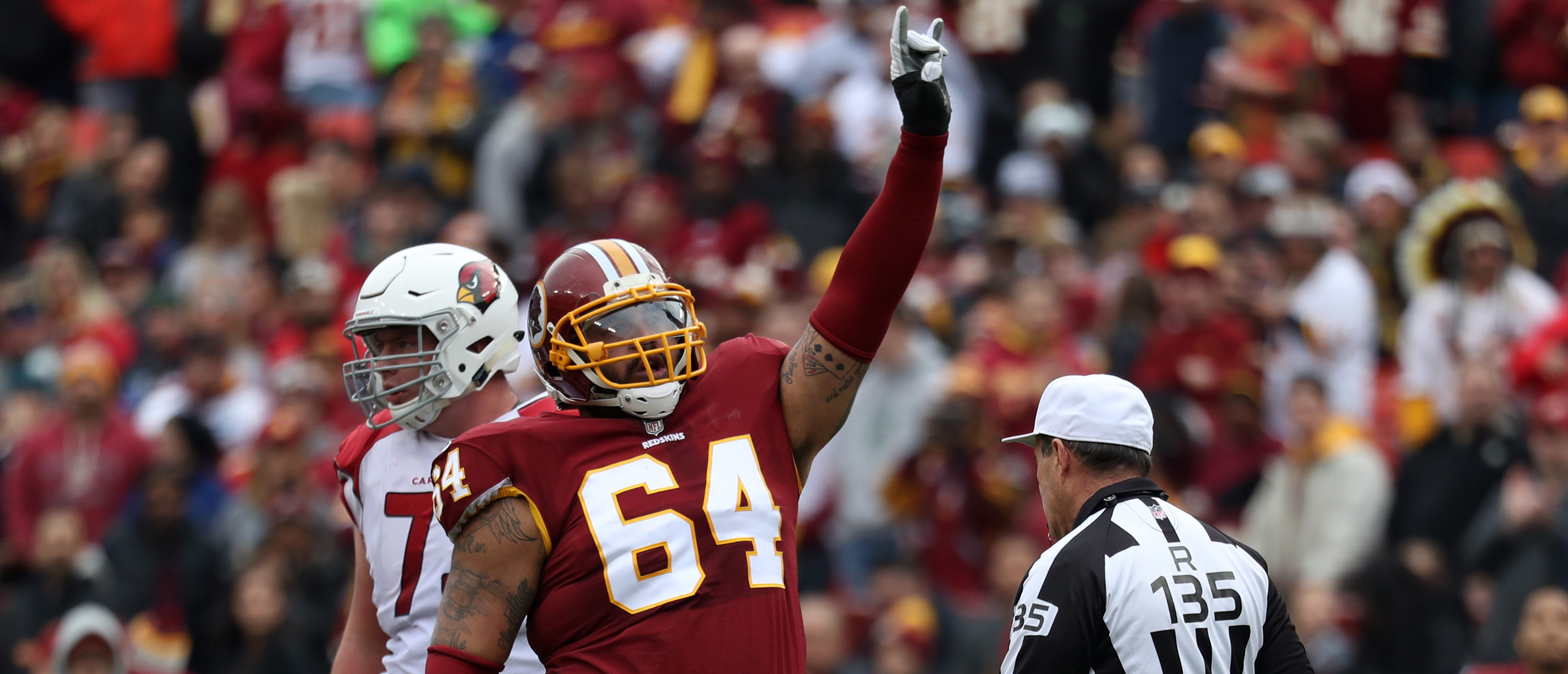 Defensive Tackle A.J. Francis #64 of the Washington Redskins celebrates after a play in the second quarter against the Arizona Cardinals at FedEx Field on December 17, 2017 in Landover, Maryland. (Photo by Rob Carr/Getty Images)