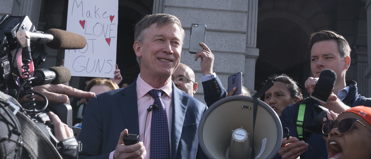 Colorado Gov. John Hickenlooper addresses a crowd of several hundred students as they protest against gun violence in front of the Colorado State Capitol on March 14, 2018 in downtown Denver, Colorado. (Photo: Ross Taylor/Getty Images)
