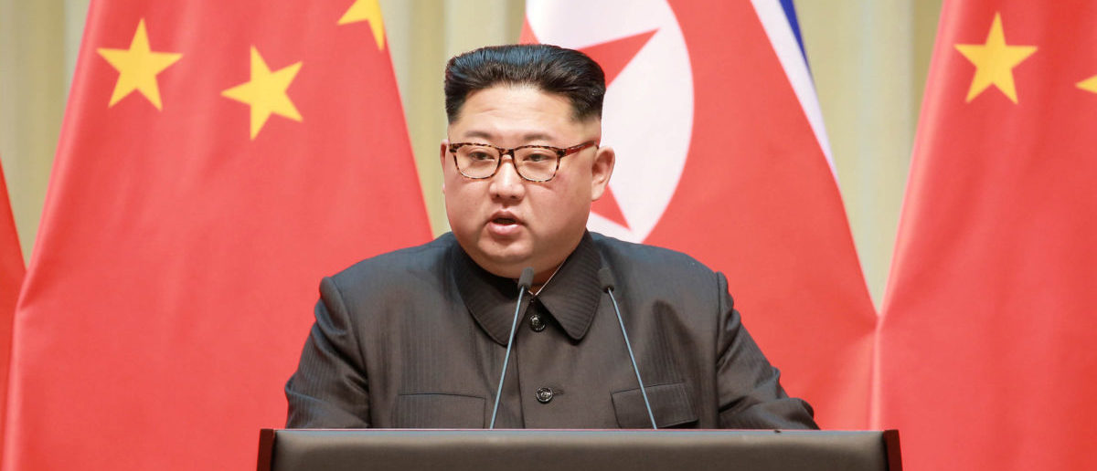 North Korean leader Kim Jong Un makes a speech during a visit to Dalian, China in this undated photo released on May 9, 2018 by North Korea's Korean Central News Agency (KCNA). KCNA/via REUTERS