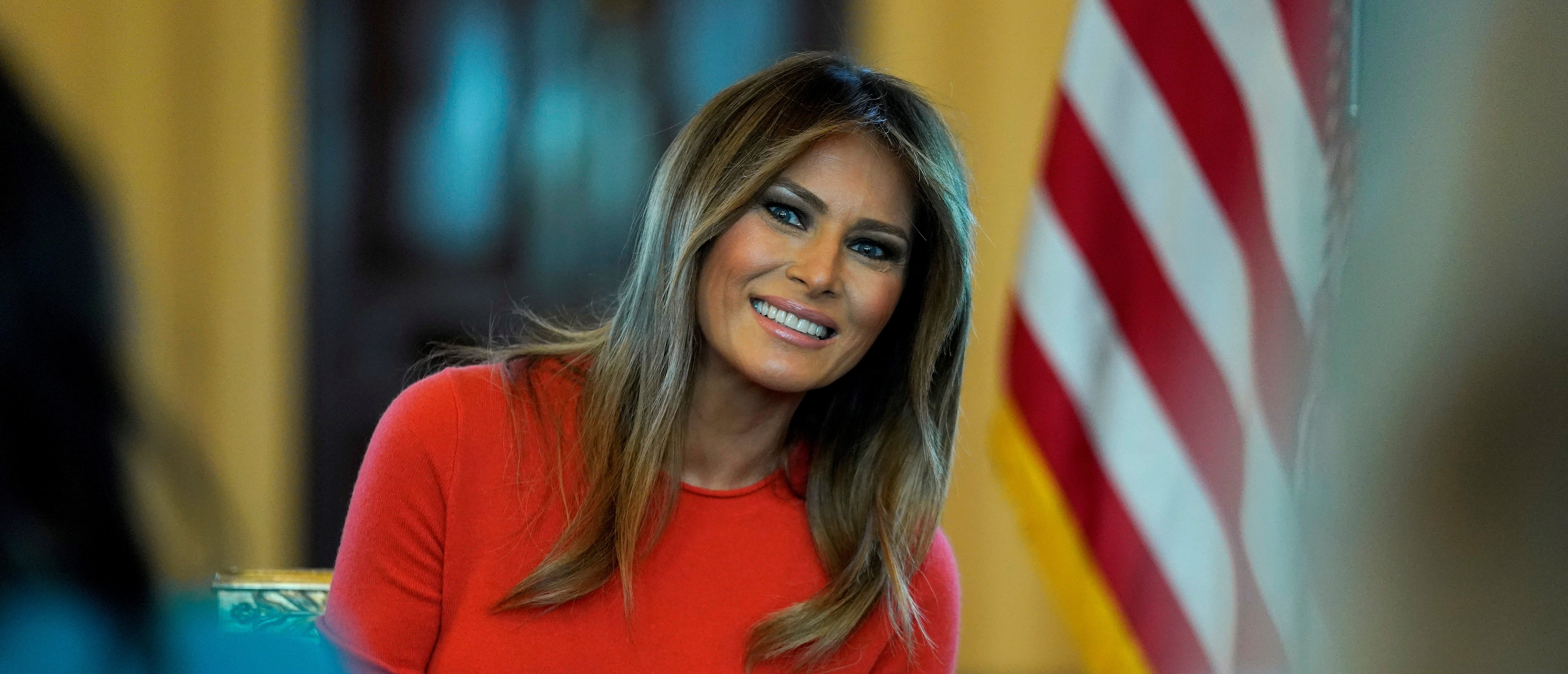 FILE PHOTO: U.S. first lady Melania Trump sits during a listening session with students at the White House in Washington, U.S., April 9, 2018. REUTERS/Joshua Roberts/File Photo - RC1A081B3A50