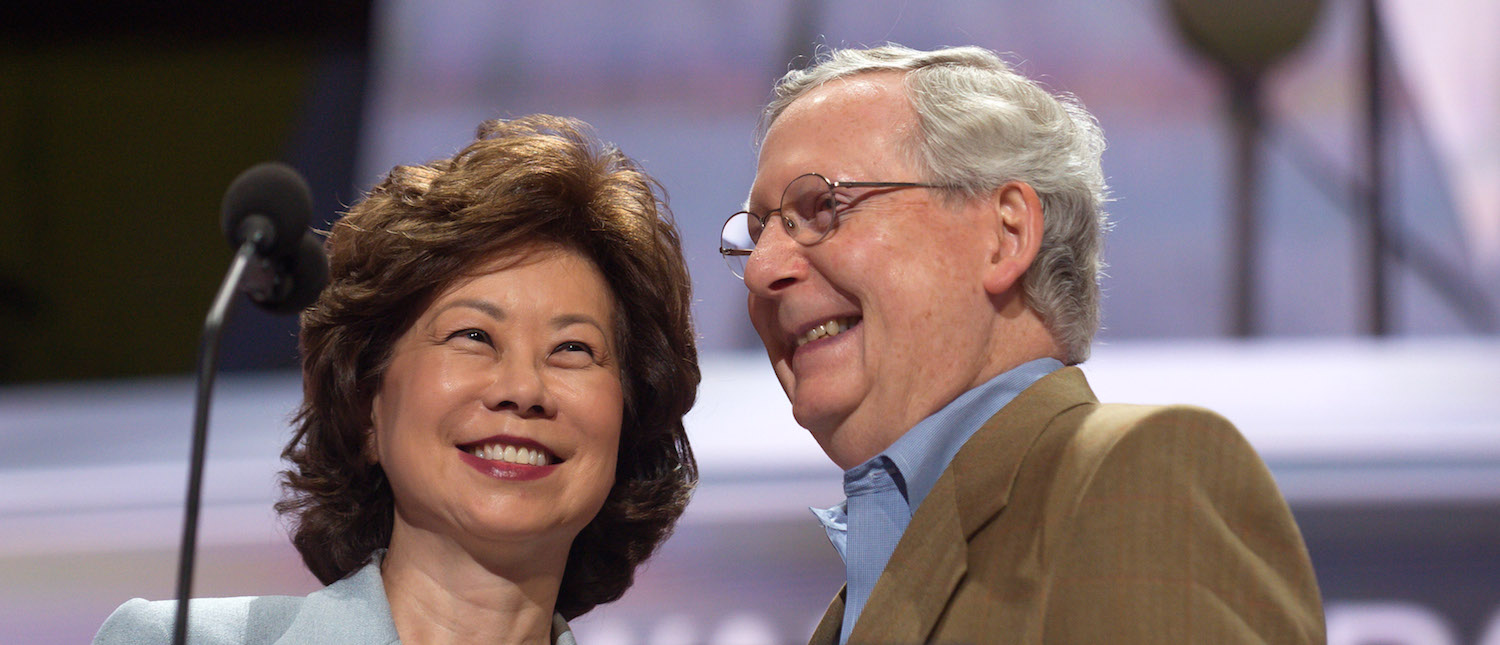 Republican Senator Mitch McConnell and his wife, Elaine Chao, check the podium the day before the start of the Republican National Convention at the Quicken Loans Arena in Cleveland, Ohio on July 17, 2016. (Photo: Jeff Swensen/Getty Images)