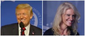 President Trump thanks Kellyanne Conway at pro-life event. Left: Fox News screenshot Right: Photo by Mark Wilson/Getty Images